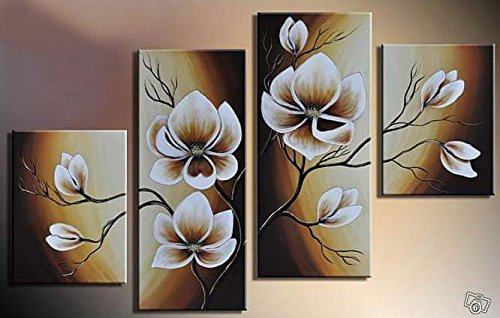 100% Hand-painted Wood Framed Oil Wall Art Warm Day Yellow Flowers Bloom Home Decoration Abstract Floral Oil Painting on Canvas 4pcs/set by Wieco Art