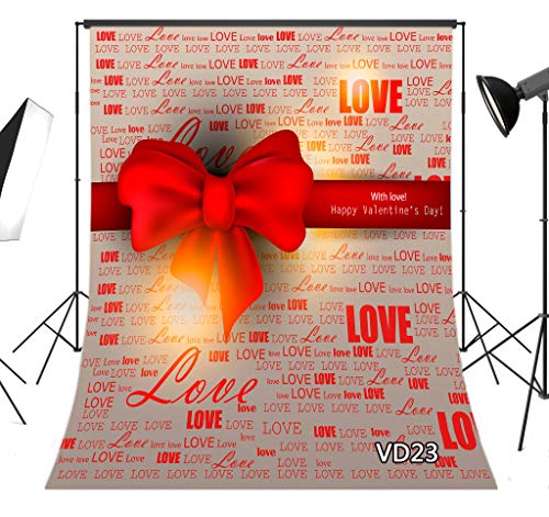 LB Valentine's Day Mother's Day Backdrop for Photography 5x7ft Love Words Red Bowknot Romantic Photo Background Studio Prop Vinyl Customized -