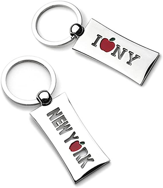 New York Keychain Recycled Materials Eco Friendly Gift Stainless Steel Keychain Shape of New York