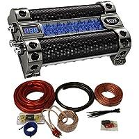NEW BOSS CAP8 8 FARAD LED Digital Car Power Capacitor Cap + 0 Gauge Wiring Kit