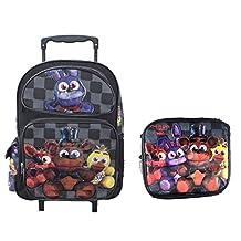 """Bonny Five Nights At Freddys Large School Roller Backpack 16"""" FNAF Trolley Rolling Bag Plus Lunch Bag Set"""