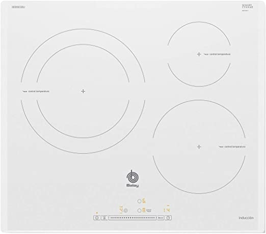 Opinión sobre Balay 3EB965BU hobs Blanco Integrado Con - Placa (Blanco, Integrado, Con placa de inducción, Vidrio, 1400 W, Alrededor)