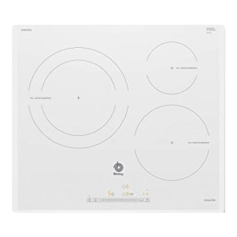Balay 3EB965BU hobs Blanco Integrado Con - Placa (Blanco, Integrado, Con placa de inducción, Vidrio, 1400 W, Alrededor)