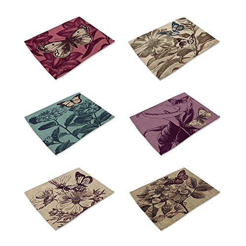 HACASO Set of 6 Vintage Style Butterfly With Flower Pattern Dining Table Mats Cotton Linen Placemats