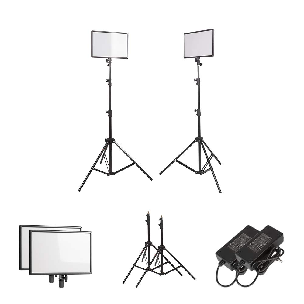 PLTHINK Luxpad 43H 15'' Bi-Color 3200K-5600K LED Lighting and PRO-203 Stand Set for YouTube Creator, Beauty Makeup, Live Streaming, Portrait Shooting, and Various Video Shooting(2 Stand Set) by PLTHINK (Image #4)