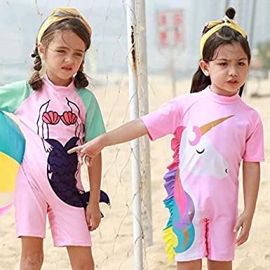 Tsyllyp Girls Kids Unicorn Mermaid Swimsuit One Piece Swimwear Sunsuits with Hat