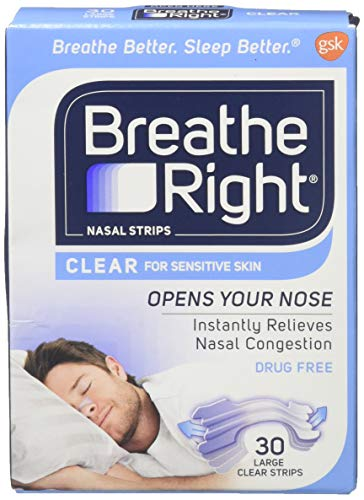 Breathe Right Nasal Strips Clear for Sensitive Skin Large 30 Each (Packs of 4)