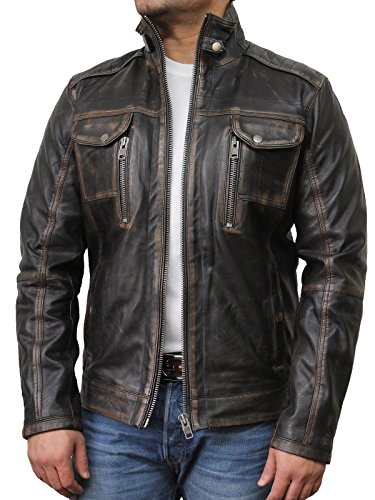 Brandslock Vintage Leather Biker Jacket product image