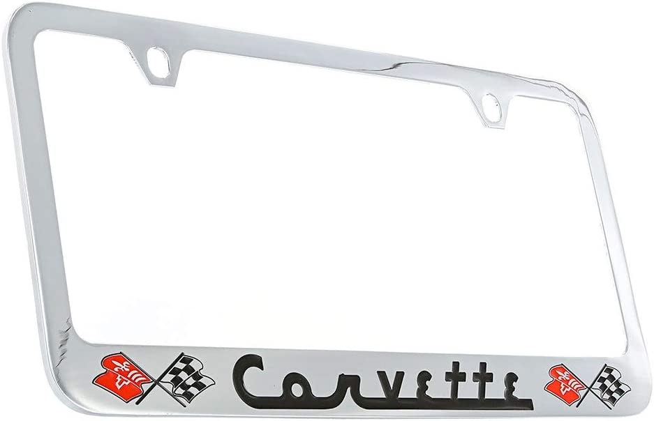 Chevrolet SS Red Letters Chrome Plated Brass Metal License Plate Frame Holder