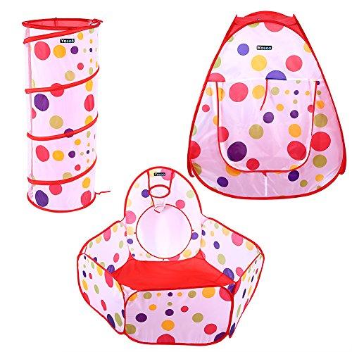 Zerodis 3 Unids Baby Kids Play Casa Carpa con Túneles de Arrastre Niños Fun Ball Pool Bounce Juguete Casa de Juegos...