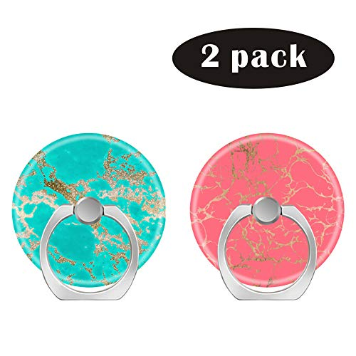 2 Pack/Cell Phone Ring Holder 360 Degree Rotation Finger Stand Works for All Smartphone and Tablets-Trendy Modern Faux Gold Glitter Marble Coral foil