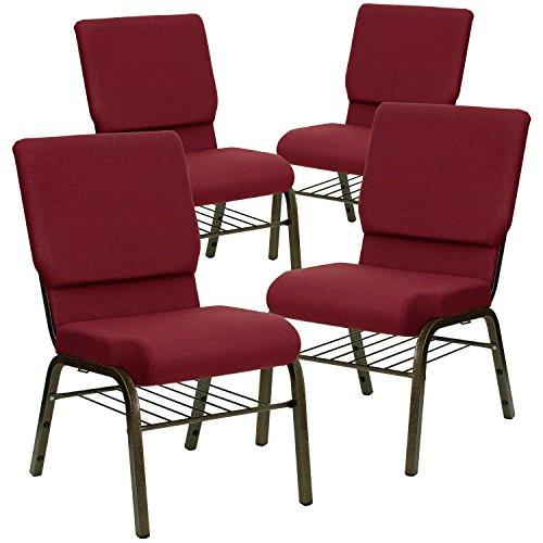 Flash Furniture 4 Pk. HERCULES Series 18.5''W Church Chair in Burgundy Fabric with Book Rack - Gold Vein Frame