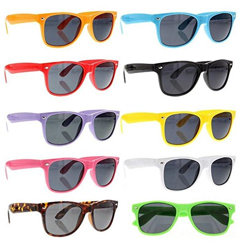 SCLM Wayfarer 80's Style Sunglasses 10 Bulk Pack Lot Neon Color Party Glasses (Assorted 10 Pack)