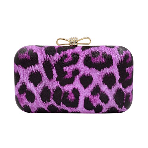 (Elegant Leopard PU Leather Crystal Bow Top Hard Clutch, Purple)