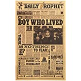 Batop Classic Movie Kraft Paper Poster - Harry Potter Daily Prophet Wall Sticker - Bar Cafe