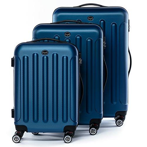FERGÉ Set di tre valigie LYON - bagaglio rigide duro da 3 - tre pz. valigie con 4 ruote (360) pelle azzurro