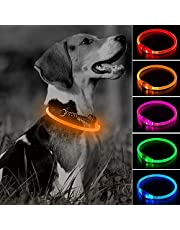 Clan_X USB Rechargeable LED Dog Collar - Glow in The Dark Dog Collars, Light Up Pet Collars for Small Medium Large Dogs Keep Your Dogs Be Seen & Be Safe