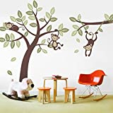 3 Monkey Tree and Branch Vine- Baby Nursery Vinyl Wall Decals