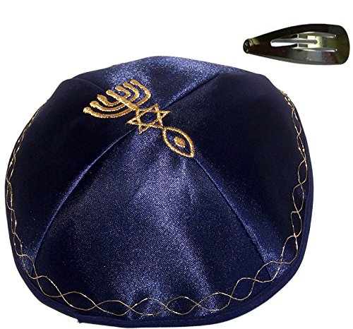 Holy-Land-Market-Blue-Kippah-with-Golden-Messianic-Sign-Embroidered-Satin-with-Clip