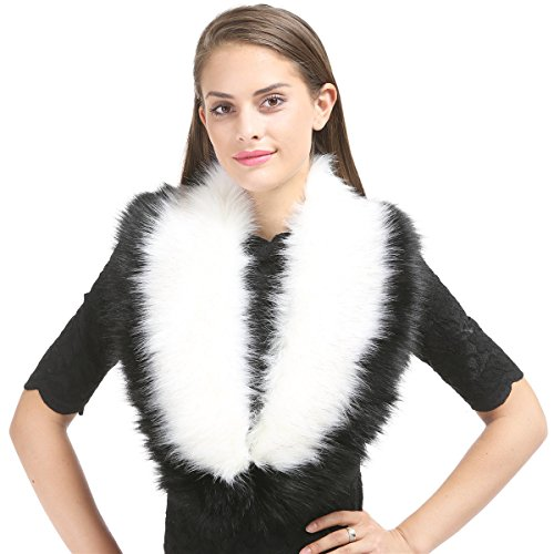 (Lucky Leaf Women Winter Faux Fur Scarf Wrap Collar Shrug for Wedding Evening Party (Black+White))