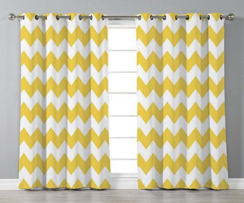 Thermal Insulated Blackout Grommet Window Curtains,Yellow Chevron,Old Fashioned Sharp Zigzag Stripes Geometric Sunny Summer Motif Decorative,Earth Yellow White,2 Panel Set Window Drapes,for Living Roo (Skinny Stripe Earth)