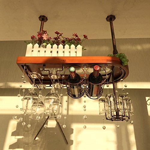 Estante del vino Peaceip Mesa de Bar de Madera Maciza Que cuelga los Ornamentos Casa de Madera de tazon Alto Que cuelga al reves Castano, Color Retro, Bronce (60 cm, 80 cm, 100 cm)