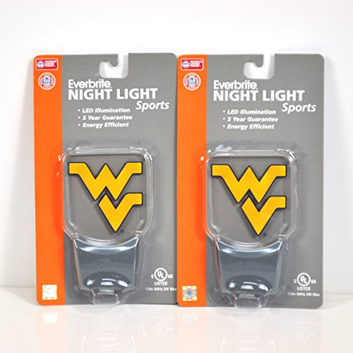 (Authentic Street Signs 2-Pack NCAA Officially Licensed, LED Night Light, Super Energy Efficient-Prime Power Saving 0.5 watt,Great Sports Fan Gift for Adults-Babies-Kids (West Virginia Mountaineers))
