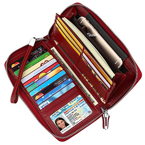 (Lavemi Women's RFID Blocking Real Leather Zip Around Wallet Clutch Large Travel Purse Wristlet(Large Size Deep)