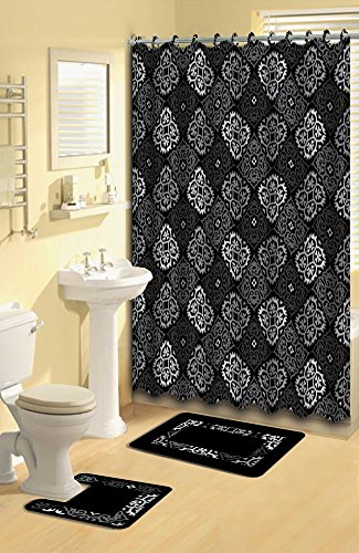 15 Pieces Shower Curtain Contour Bath Mat W Hooks Bathroom Rug Set Black