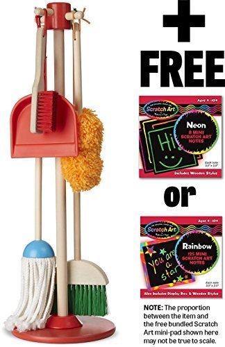 Melissa & Doug Dust, Sweep & Mop: Let's Play House! Pretend Play Set & 1 Scratch Art Mini-Pad Bundle (08600)