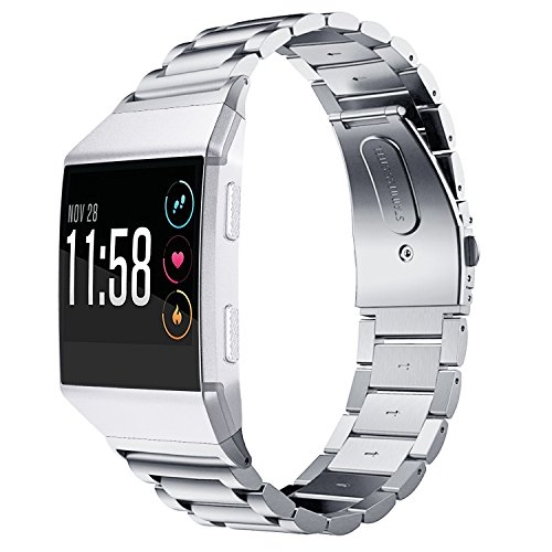 (Fitbit Ionic Band, Shangpule Stainless Steel Metal Replacement Bracelet Strap with Folding Clasp for Fitbit Ionic Smart Watch(Silver))