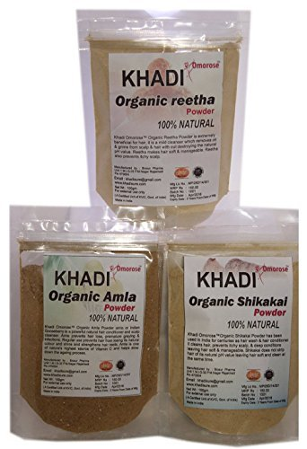 Khadi (Amla, Reetha, shikakai) Hair Care Combo 100 GMS X 3 (Shikakai Amla Powder)