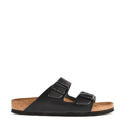 0e783af67999 Birkenstock Arizona Black Leather Two Strap Flat Sandal 41EU 8UK Black