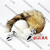 Sexy feather stuffed rabbit tail of the rabbit tail of the anal plug flirt sexy flirt with metal yellow tail