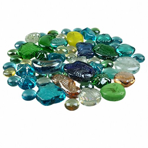 Bilipala Decorative Glass Gems Flat Bottom Fish Marbles For Vases Filler, Table Scatter, Aquarium Decorations, 1 Pound