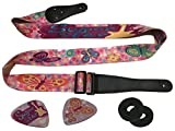 Girly Pink Funk Guitar Strap Bundle Includes 2 Strap Locks & 2 Matching Picks- Adjustable Polyester Great For Kids - Suitable For Bass, Electric & Acoustic Guitars.