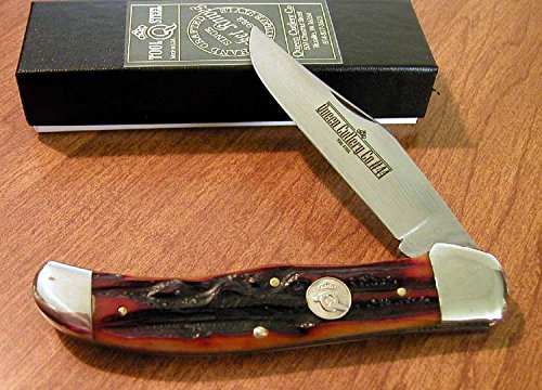 Queen Cutlery 44ACSB Folding Hunter Knife Amber Stag Bone Handles