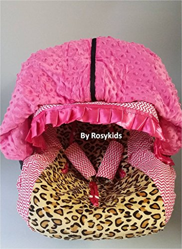 Rosy Kids Infant Carseat Canopy Cover 4pc Whole Caboodle, Baby Car Seat Cover and Canopy Cover Outdoor Traveling Kit, Cheetah Print and Hot Pink Chevron (Cheetah Baby Car Seat Covers)