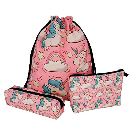 Girl Drawstring Backpack Unicorn Pencil Case Set of 3 Rucksack Shoulder Bags Gym Bag