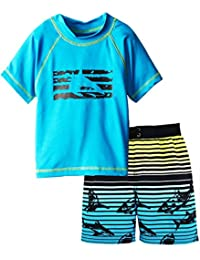 iXtreme Little Boys Shark Short Sleeve 2-Piece Rashguard Swim Trunk Set, Blue, 3T
