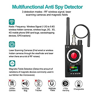 Anti Spy RF Detector, Camera Finder Bug Detector, GPS Detector, Signal RF Detector for Wireless Hidden Camera Bug GPS GSM Listening Device Magnetic Devices
