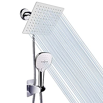 """Shower Head with Hose, High Pressure Stainless Steel 8"""" Rain Showerhead and 3 Settings Handheld Shower Spray Combo with Push Button Flow Control for Easy Operation"""