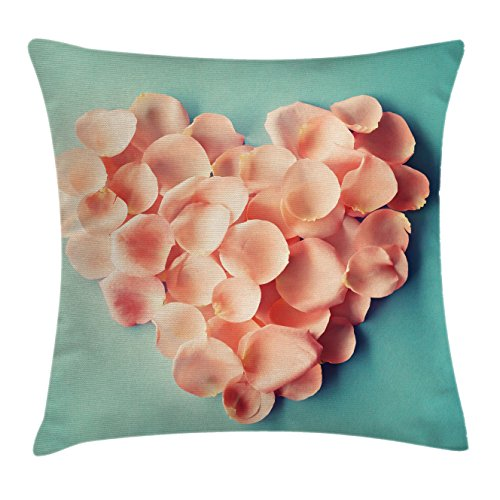 Personalized Heart Shaped Mint - Coral Throw Pillow Cushion Cover by Ambesonne, Heart Shaped Floral Petals Valentines Mothers and Wedding Day Sweet Still Life Icon, Decorative Square Accent Pillow Case, 20 X 20 Inches, Peach Mint