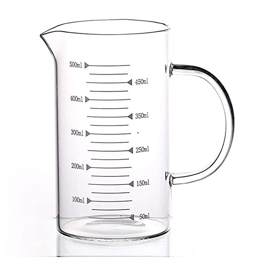 Vaso medidor de vidrio con tapa de taza de 240 ml, transparente ...
