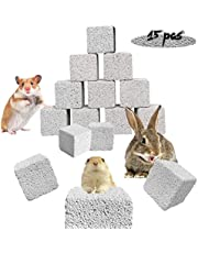 PINVNBY 15 Pcs Rabbits Lava Blocks Bunny Teeth Grinding Stone Small Animal Mineral Calcium Stone Chews Toy for Hamsters,Chinchillas and Parrot