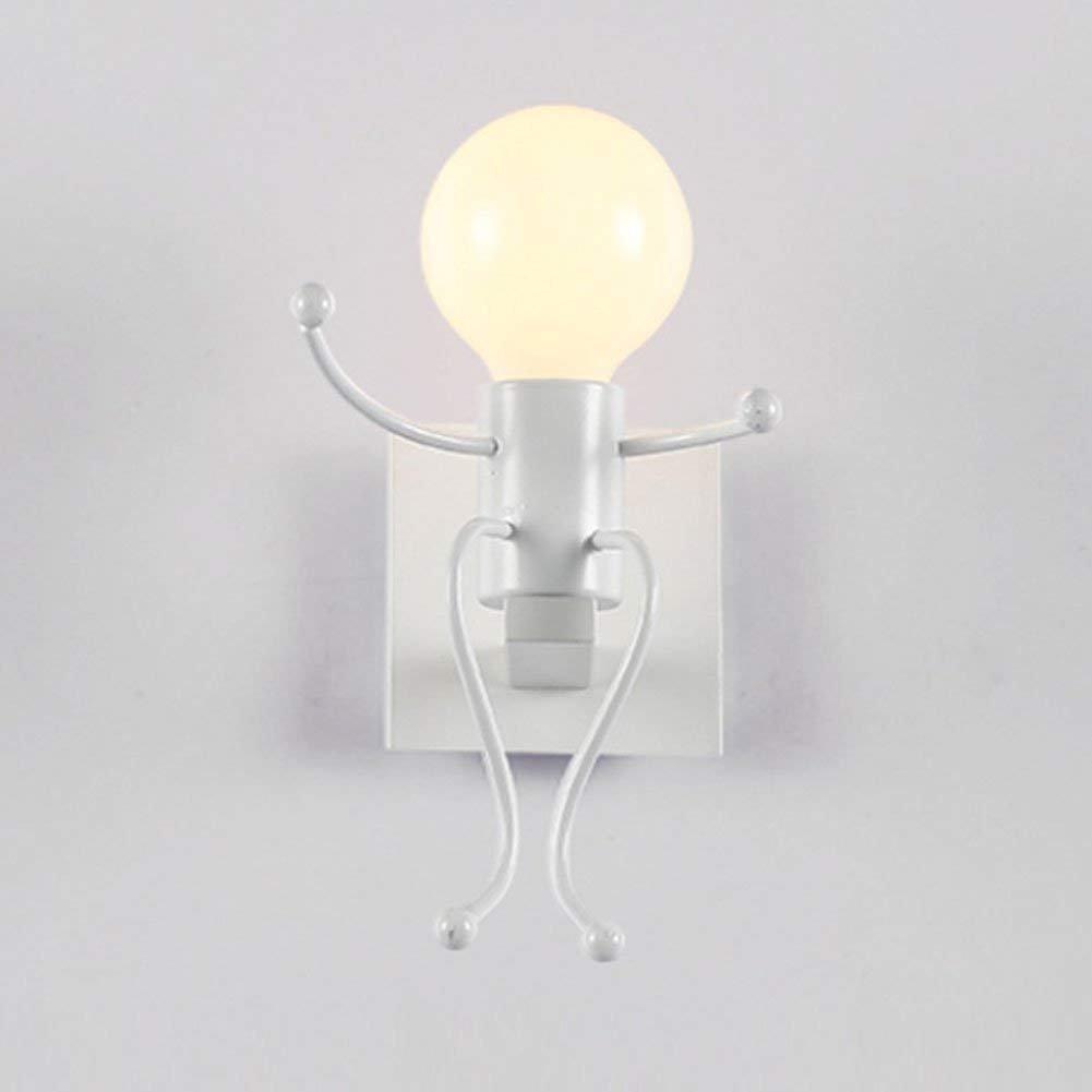Lámparas de pared minimalista moderno salón dormitorio LED lámpara de mesilla dormitorios niño creativo único jefe de hierro blanca Luz paredes interiores del pasillo [Clase de eficiencia energética A++] XJIH