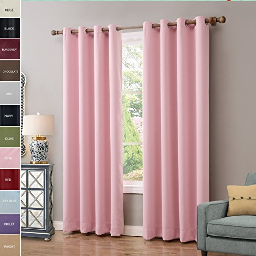ChadMade Solid Thermal Insulated Blackout Curtains Drapes Antique Bronze Grommet / Eyelet Pink 52W x 108L Inch (Set of 2 Panels) (Taffeta Fabric Drapery)