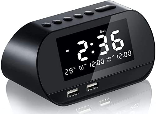 Digital Alarm Clock for Heavy Sleepers Kids with Radio Dual USB Charger Ports Bedrooms Bedside Study Room Snooze Temperature Display Adjustable Brightness Black