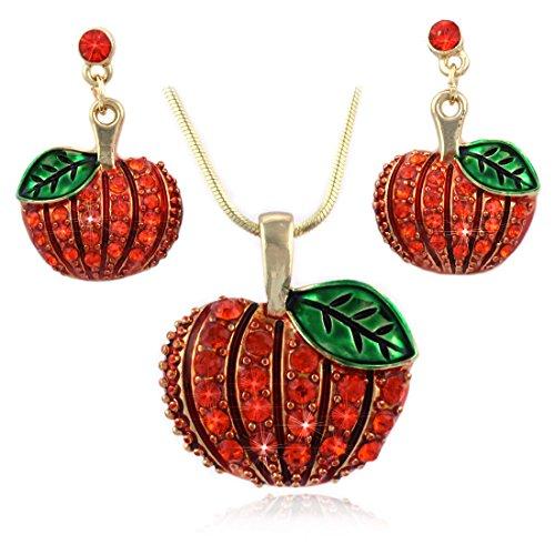 Halloween Coin Set (cocojewelry Autumn Fall Harvest Pumpkin Post Earrings Necklace Set Thanksgiving Halloween Jewelry)