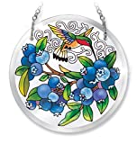 Amia Hand-Painted Beveled Glass Blueberries and Hummingbird Suncatcher, 4-1/2-Inch